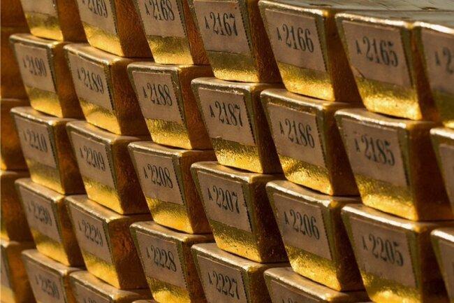 Goldbarren der Deutschen Bundesbank in der Lagerstätte in Frankfurt am Main.