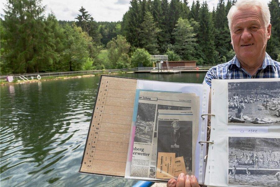 Das Naturbad Tannenberg wird 70. Hunderte Einwohner packten für seinen Bau in der Nachkriegszeit mit an. Ein Stück Tannenberger Geschichte, wie Ortschronist Andreas Schreiber zeigt. Genutzt wird es auch von Besuchern aus umliegenden Orten.