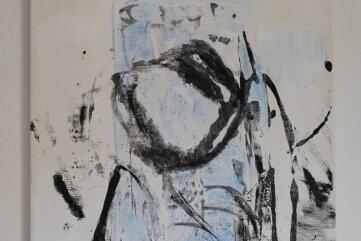 Auch das ist eine im Corona-Jahr entstandene Arbeit. Wenige Linien und zartes Hellblau bilden eine Figur.