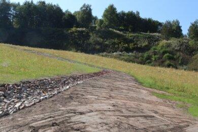 Blick auf das jetzt sanierte Objekt 98. Einst war die steile Halde bebaut gewesen.