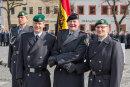 Der scheidende Bataillonskommandeur Oberstleutnant Thorsten Gensler mit Generalmajor Ruprecht von Buttler und dem neuen Kommandeur der Marienberger Jäger Axel Niemann (von rechts).