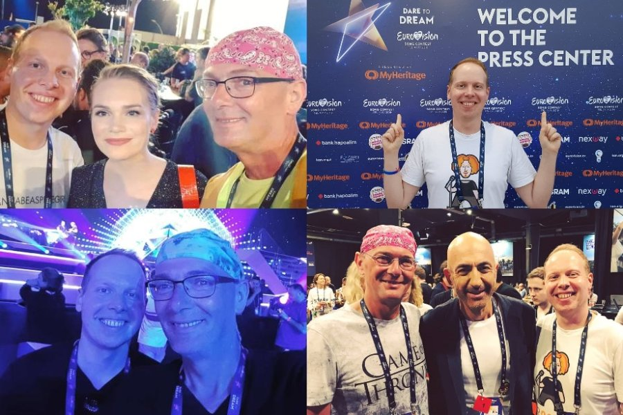 Pierre Franz und Oli Müller sind bereits seit anderthalb Wochen in Tel Aviv und haben unter anderem die dänische Kandidatin Leonora und Serhat aus San Marino getroffen.
