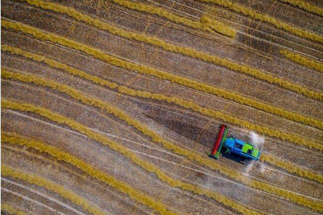 """""""Gleich geschafft"""" schreibt Stefan Glaß aus Olbernhau zu seinem Drohnenfoto, das landwirtschaftliche Arbeit aus einer ungewohnten Perspektive zeigt. Die Wahl des Bildausschnitts, Linienführung und farbliche Kontraste zeichnen dieses Foto aus."""