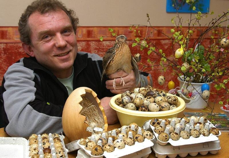 """<p class=""""artikelinhalt"""">""""Wachtel-Bahnhof"""" in Geyer: Jörg Dick züchtet Wachteln und verkauft die schwarzbraun gefleckten Eier, die sehr gesund sein sollen. </p>"""