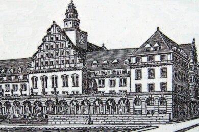 Für den Bau des neuen Plauener Rathauses wurde damals ein Wettbewerb ausgeschrieben. Diese Version bekam den 1. Preis, wurde aber nicht gebaut.