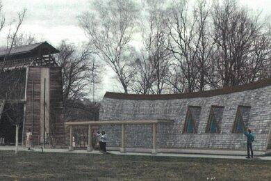 Die geplante neue Anlage - hier eine Animation - soll rechts neben dem Gradierwerk platziert werden.
