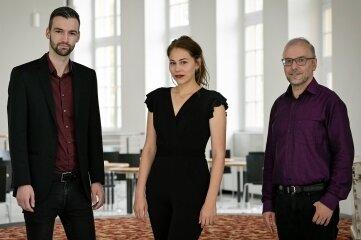 Mezzosopranistin Marlen Bieber, Bassbariton Felix Rohleder und Dan Ratiu treten am Sonntag in Lichtenwalde auf.