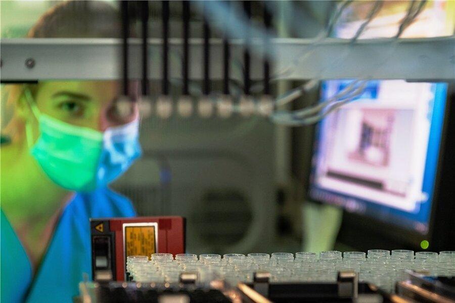 Automatische Analyse. Mit diesem Gerät können 96 PCR-Tests zum Nachweis einer frischen Coronainfektion gleichzeitig untersucht werden.