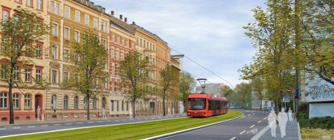 """<p class=""""artikelinhalt"""">Wie in der Entwurfsskizze könnte die Theaterstraße aussehen, wenn einst die Bahnen des Chemnitzer Modells darauf rollen. Eine andere Variante wäre die sogenannte französische Lösung. Dabei fährt die Bahn an einer Straßenseite, Fahrgäste steigen direkt in die Fußgängerzone aus. </p>"""