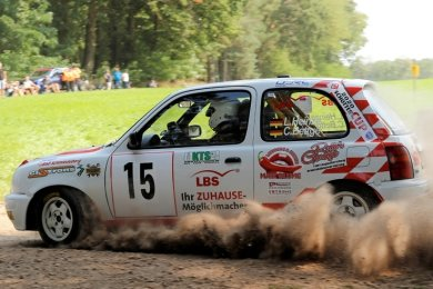 Lukas Heinze und Clara Bettge vom MC Grünhain feierten im Nissan Micra bei der Rallye Bad Schmiedeberg einen Klassensieg.