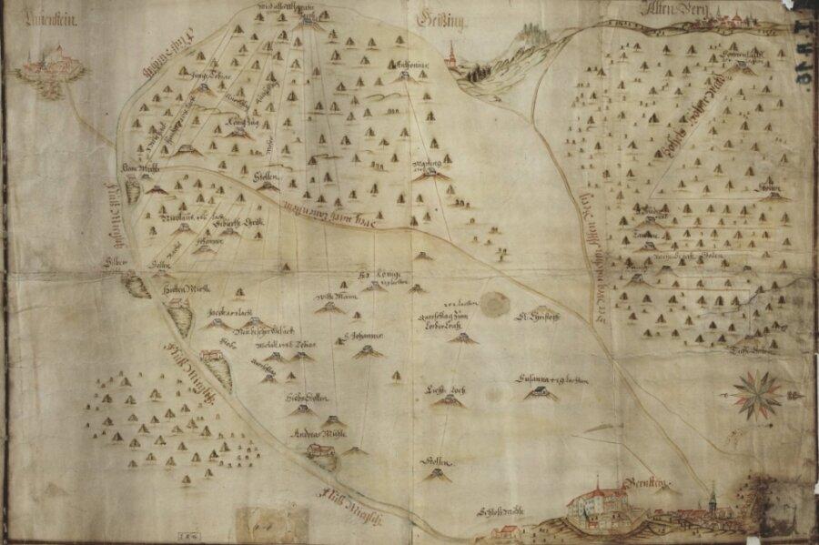 Die Karte aus dem 17. Jahrhundert zeigt die osterzgebirgische Bergbaulandschaft nahe Schloss Lauenstein. Für heutige Augen ungewohnt: Der Süden befindet sich oben.