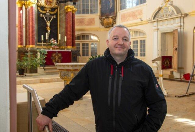 Matthias Große in der Glauchauer Georgenkirche, in der er am Sonntag verabschiedet wird.