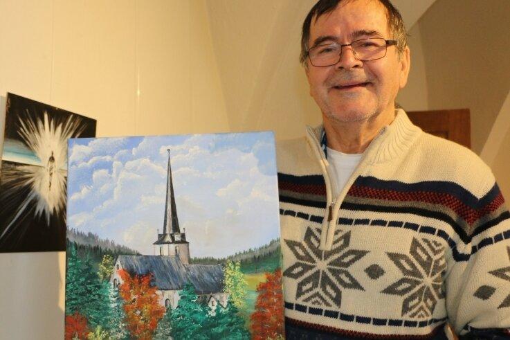 Dr. Hans-Peter Truhm zeigt derzeit seine Werke im Kreuzgewölbe im Schloss Leubnitz.