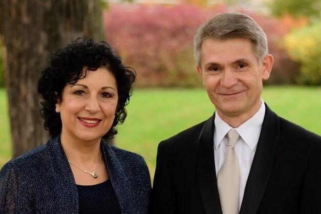 """Das """"Calliope Duo"""" Sarah Stamboltsyan und ihr Mann Artashes."""