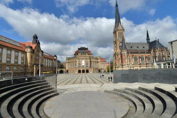 Der Theaterplatz in Chemnitz.