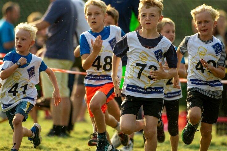 Vor allem bei den jüngeren Sportlern erfreut sich der Sommerhutberglauf des TuS Voigtsdorf großer Beliebtheit. 140 Läufer und Läuferinnen starteten bei der 25. Auflage sportlich in die Sommerferien, hier die Jungen der AK 7 bis 9 Jahre, die 1 Kilometer zu absolvieren hatten.