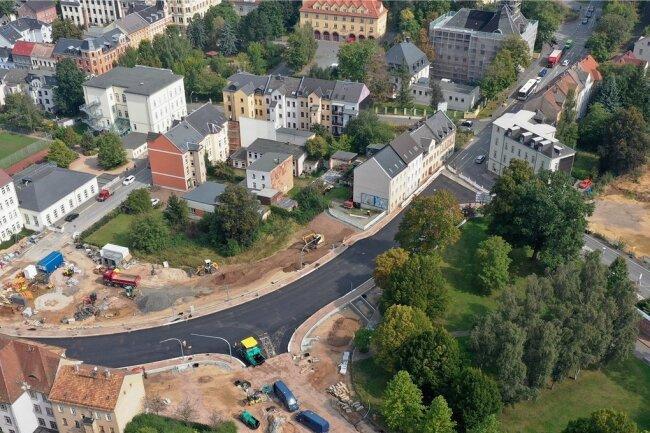 Die B-175-Baustelle in Werdau.
