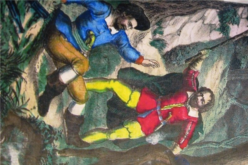 Lips Tullian (rechts) in einer zeitgenössischen Illustration. Das Ausrauben machte er zu seinem Beruf. Dabei ging er auch über Leichen. In Freiberg ermordete er einen Nachtwächter.