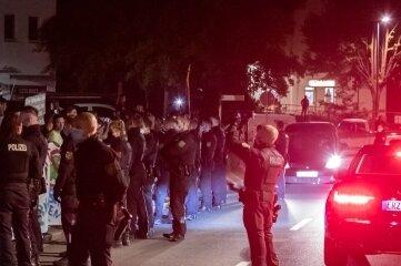 Musste von der Polizei abgesichert werden. Veranstaltung in Oelsnitz.