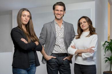 Pitch-Team (v. l. n. r.): Nadine Bengel (Senior Projektmanagerin Mindbox), Joerg G. Fieback (Geschäftsführer Kreation zebra | group) und Sabine Kunze (Geschäftsstellenleiterin Mindbox)