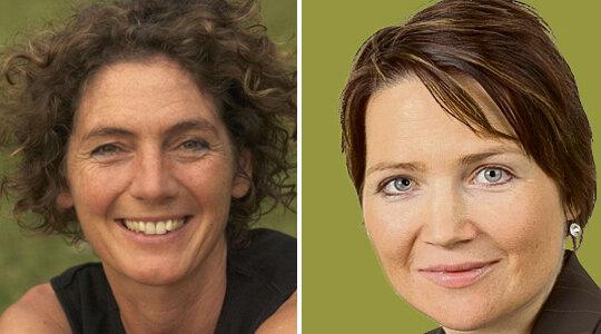 Am Infotelefon: Judith Vogler (links) und Susan Novak.