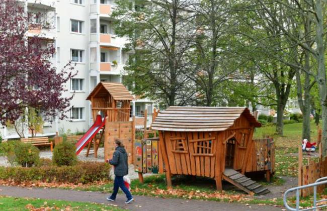 Ein Kinderspielplatz an der Karl-Kegel-Straße in Freiberg.