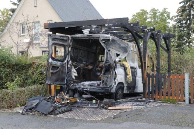 An der Württemberger Straße brannten ein Carport und ein Wohnmobil völlig aus.