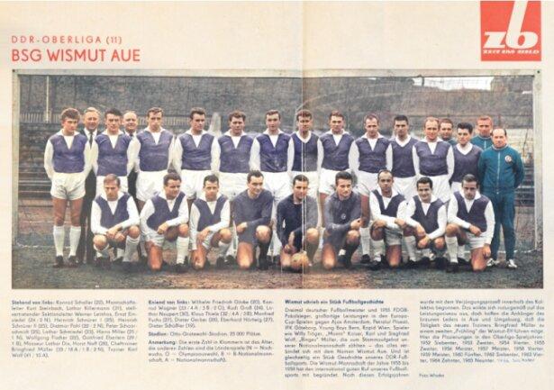 """Die Wochenzeitschrift """"Zeit im Bild"""" informierte 1966 in der Nummer 17 über die Fußballer von Wismut Aue und zeigte dabei die Oberliga-Mannschaft in den neuen lila-weißen Trikots. Der damalige Kapitän Dietmar Pohl hat sich das Exemplar aufgehoben, aus dem diese Reproduktion stammt."""