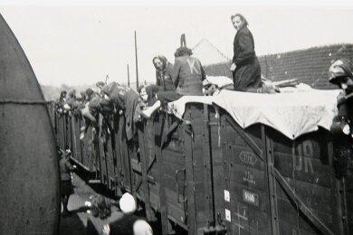 """Ein """"Todeszug"""" Ende April 1945 am Bahnhof in Roztoky bei Prag, auf dem auch Frauen aus Mittweida waren."""
