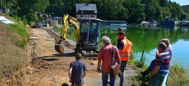 Hier entsteht die Uferpromenade, das Kernstück beim Umbau des Hafens der Talsperre Kriebstein.