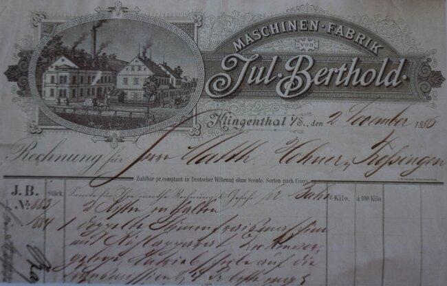 Kopie einer Rechnung der Klingenthaler Maschinenfabrik Julius Berthold für die Firma Hohner in Trossingen aus dem Jahr 1886 für den Kauf einerdoppelten Fräsmaschine für Stimmplatten.