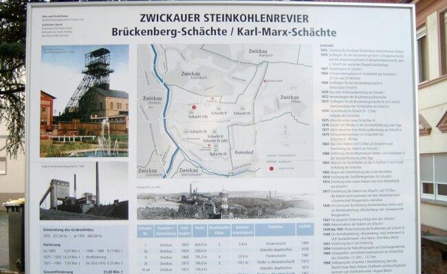 Diese Schautafel auf dem Zwickauer Brückenberg gibt einen Überblick über die Brückenbergschächte/Karl-Marx-Schächte.