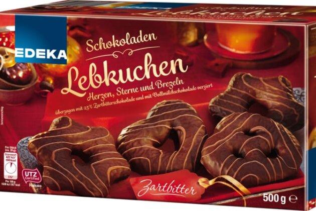 Edeka Schokoladen Lebkuchen, Herzen, Sterne und Brezeln zartbitter