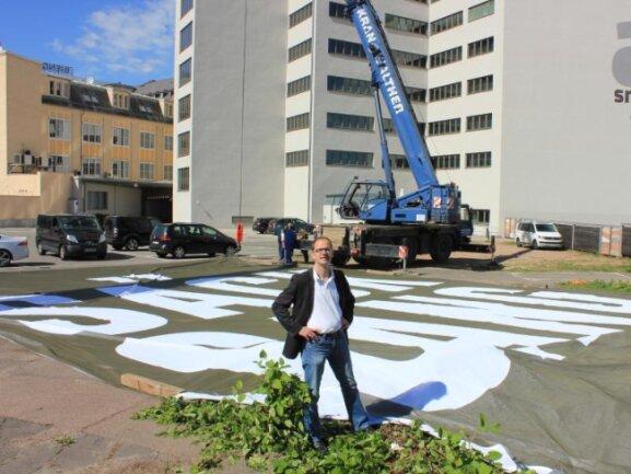 Protest gegen Rechts: Chemnitz zieht Riesenbanner auf.
