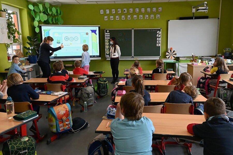 Die Lehrerinnen Petra Fischer (vorn links) und Melanie Lindner (vorn rechts) an einer der digitalen Tafeln.