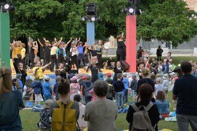 Musik-Picknick für Kinder mit den Studio W.M. am Donnerstagvormittag zum Auftakt des Parksommers 2021.