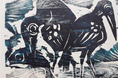 """""""Fischende Krähen"""" lautet der Titel dieses Farbholzschnittes von Johannes Feige."""