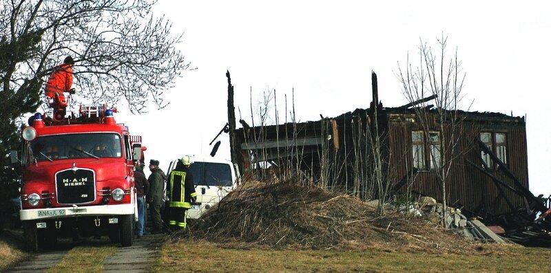 """<p class=""""artikelinhalt"""">Noch Stunden nachdem der Brand in der als Lager genutzten Scheune gelöscht war, blieb die Freiwillige Feuerwehr in Jöhstadt vor Ort, um ein erneutes Auflodern der Flammen zu verhindern. </p>"""