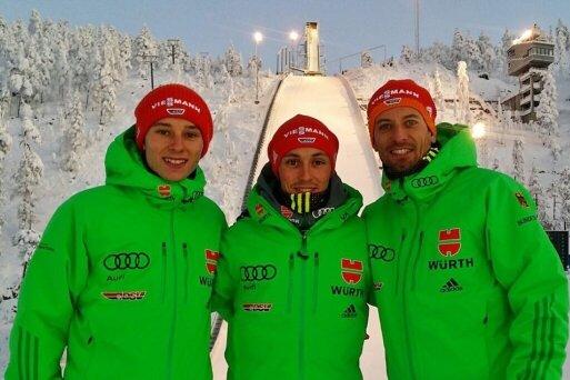 """Endlich Winter: Terence Weber, Eric Frenzel und Björn Kircheisen (von links) Anfang der Woche beim Fotoshooting für """"Freie Presse"""" in Ruka."""