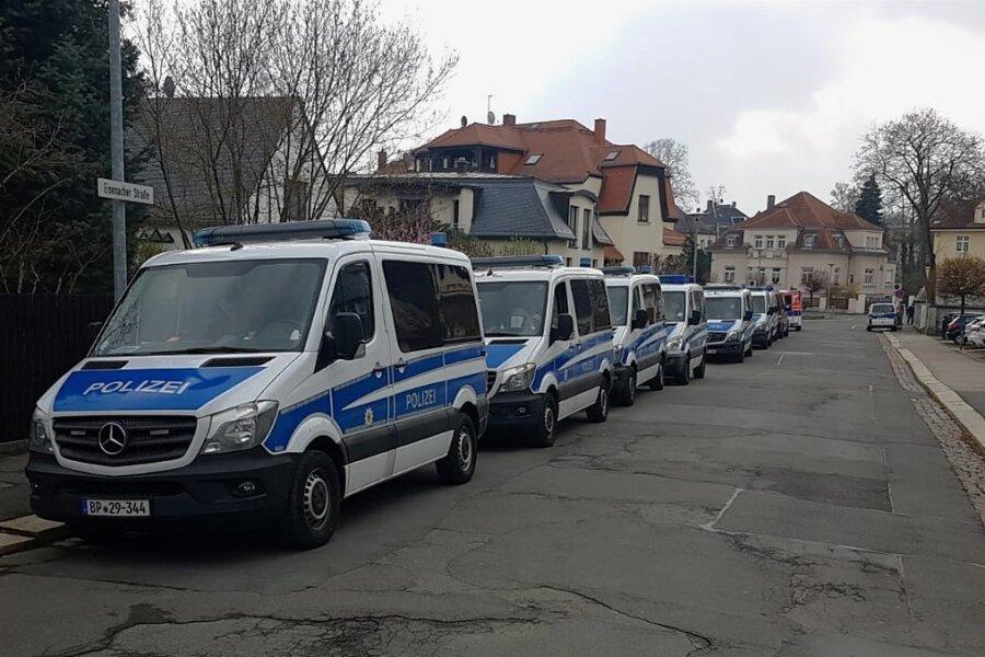 Massives Polizeiaufgebot in Plauen.