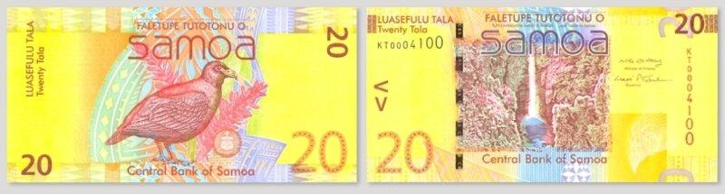 """<p class=""""artikelinhalt"""">Der 20-Tala-Schein des Südsee-Inselstaates Samoa wurde von der International Banknote Society zur Banknote des Jahres 2009 gewählt. Die Vorderseite (links) zeigt den Nationalvogel Samoas Manumea und die Nationalpflanze Teuila. Besonders gefielen der Jury die malerische Gestaltung des Wasserfalls auf der Rückseite des Scheins, die auffallenden Gelb- und Goldtöne sowie die innovativen Sicherheitsmerkmale des Geldscheins.</p>"""