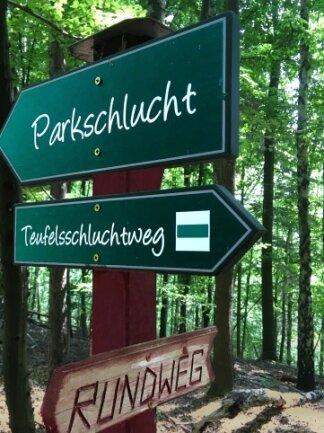 Schilder weisen den Weg durch den Waldpark.