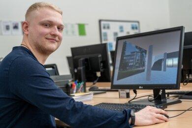 Justin Brückner entwickelte einen virtuellen Rundgang durch das Schulgebäude Parkstraße 5 A in Rodewisch. Auf dem Bildschirm sieht man den Eingangsbereich der Schule.