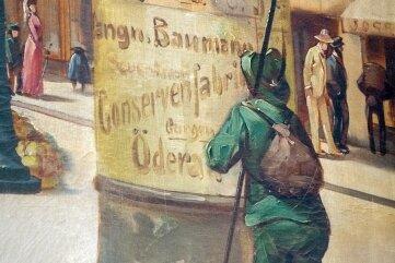 Detail des historischen Bildes: Auf einer Litfasssäule ist Werbung für die Oederaner Firma zu sehen.
