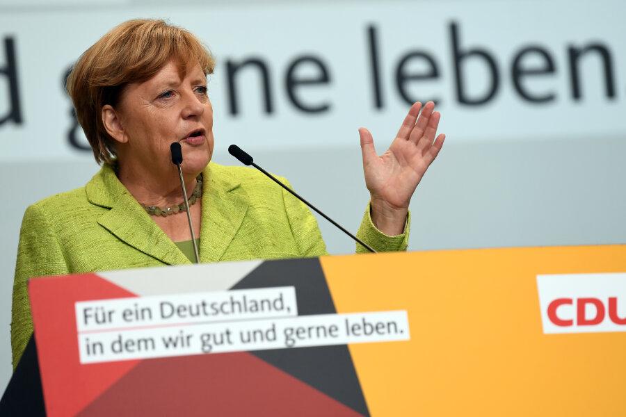 undeskanzlerin Angela Merkel (CDU) spricht einer Wahlkampfveranstaltung der CDU.
