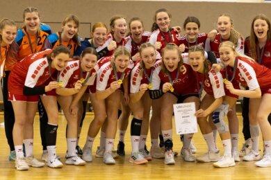 Großer Jubel bei der B-Jugend des BSV Sachsen Zwickau: Als Mitteldeutscher Meister ist das Team für die Deutsche Meisterschaft qualifiziert.
