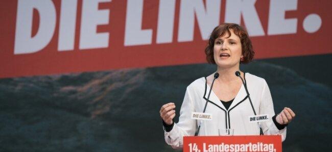 Nicht nur wegen ihrer 84,8 Prozent war sie die Siegerin in Glauchau: Spitzenkandidatin in Sachsen und Linke-Chefin Katja Kipping.