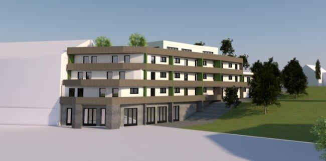 Blick auf den geplanten Neubau: Dieser Entwurf zeigt, wie das Gebäude an der Kurpassage in Bad Schlema eines Tages aussehen könnte.