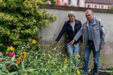 Ellen und Jörg-Ulrich Richter zeigen am Giebel des Wohnblocks in der Nähe der Basilika, wo die Figur der sich bückenden Gärtnerin stand.