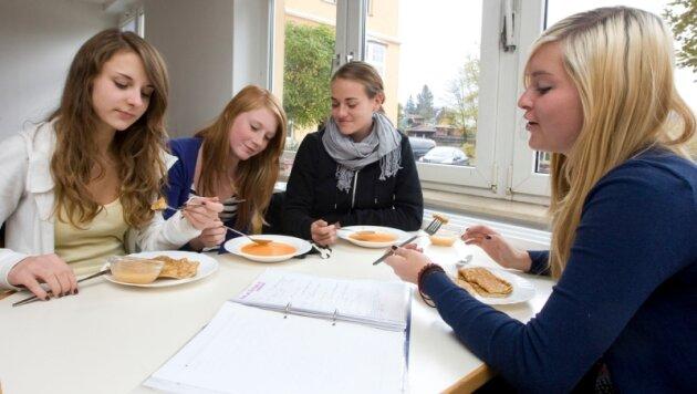 Nur manchmal kommt bei den Lessing-Gymnasiastinnen Luise Grahn, Anne Kollwitz, Jessica Albert und Tina Schulze (von links) das reguläre Schulessen auf den Teller.